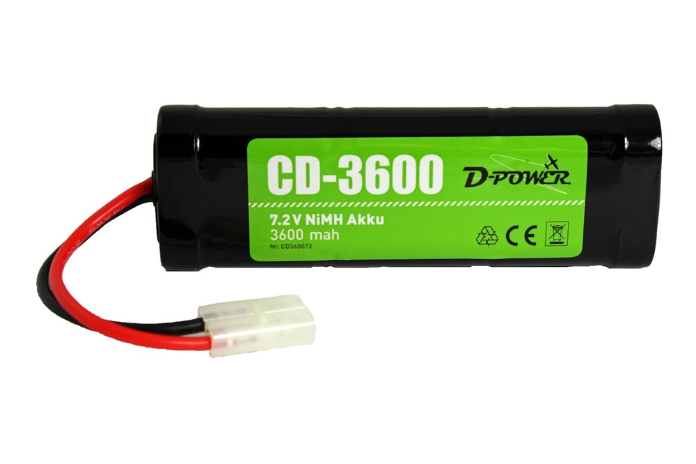 D-Power CD-3600 7.2V NiMH Battery with Tamiya-Plug